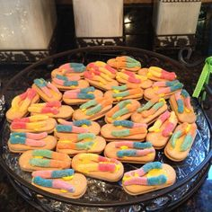 Flip Flop cookies! Vienna Fingers and sour gummy worms!