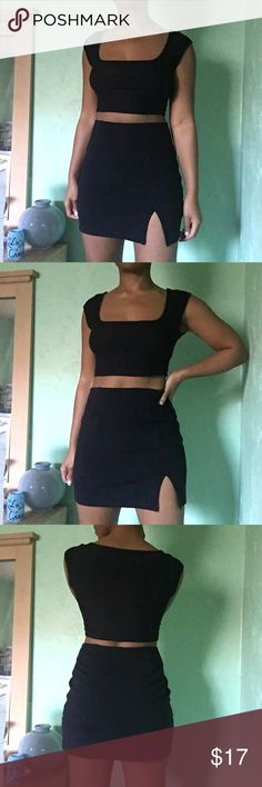 """Express Tricot Black Mini Skirt 90s Express Tricot black mini skirt • size small •68% Rayon, 26% Nylon, 6% Spandex - feels like a thick stretchy cotton, doesn't ride up when walking! • elastic waist • measures straight across, in inches: 12.5"""" waist (unstretched) can accommodate up to size 24-28"""" waist nicely , 17.5"""" hips, 15"""" length, 4"""" slit on left side of bottom hem • perfect vintage condition with no fading or piling Express Skirts Mini"""