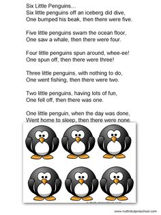 Six little penguins flannel board printable pattern. Songs, fingerplays, preschool printable activities and themes. Flannel Board Stories, Felt Board Stories, Felt Stories, Flannel Boards, Preschool Music, Preschool Activities, Preschool Winter, Preschool Printables, Penguin Songs