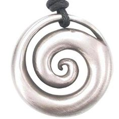 Hypnotic Spiral Shell Pewter Pendant Necklace Jewelry