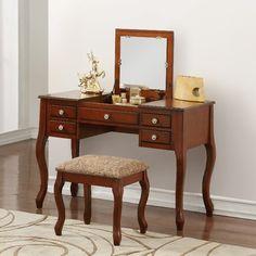 Andover Mills Gwendolyn Vanity Set with Mirror Color: Cherry