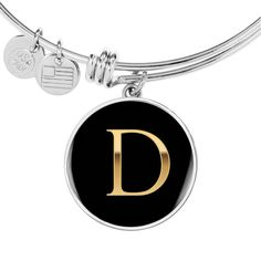 Letter D Initial Bangle Bracelet in Gold or Stainless Steel with Fast Free Shipping Initial Pendant Necklace, Initial Bracelet, Custom Gift Boxes, Customized Gifts, Simple Necklace, Simple Jewelry, Bangle Bracelets, Bangles, Necklaces