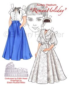 Audrey Hepburn in Roman Holiday paper doll by PaperDollsbyERMiller
