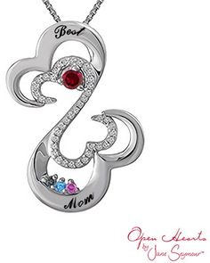 Open Hearts Family by Jane SeymourTM Birthstone and Diamond Pendant in Sterling Silver (4 Stones and 2 Lines)
