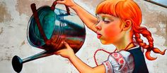 Natalia Rak cria lindos murais coloridos nos muros das cidades