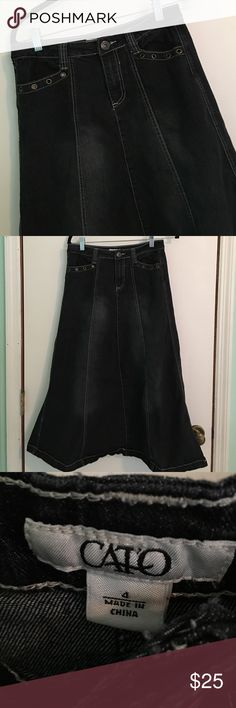 Cato Long Modest Denim Jean Skirt Cato Long Modest Denim Jean skirt. Size 4. A-line style so plenty of leg room! No splits. Good preloved condition! Tons of life left! Great skirt! Smoke free and pet free home! Always open to offers and bundling! Cato Skirts A-Line or Full