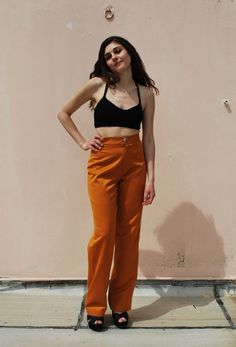 mustard high waist trousers via tsouknida. Click on the image to see more!