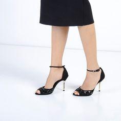 Embellished Ankle Strap Heels - Black - Heels - Shoes | CHARLES & KEITH