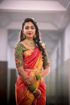 Designer Pattu Saree with a dark blouse - Top 40 elegant bride Pattu Saris . - Designer Pattu Saree with a dark blouse – Top 40 elegant bride Pattu sarees that we can& st - Wedding Saree Blouse Designs, Pattu Saree Blouse Designs, Half Saree Designs, Fancy Blouse Designs, Saree Wedding, Wedding Blouses, Designer Sarees Wedding, Wedding Day, Bridal Sarees South Indian