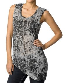 Look at this #zulilyfind! Gray Faded Filigree Asymmetrical Hem Tank by Silver Jeans Co. #zulilyfinds