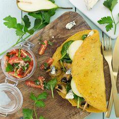 Den vegtariska kassen bjuder på mums, Kikärtsgalette med persiljestekt svamp och Saint Agur. #Vegetariskt Ost, Tacos, Mexican, Vegetarian, Ethnic Recipes, Mexicans