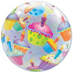 """Cupcake Birthday Bubble Balloon 22"""" Lots of Festive Cupcakes! by Qualatex. $7.34. Packaged Bubble Balloons, Bubbles, Invite Your Friends, Ballon, Birthday Cupcakes, Christmas Bulbs, Banner, Packaging, Invitations"""