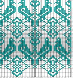 Tricksy Knitter Charts: DROPS paired birds (would be nice for a scarf) Cross Stitch Bird, Cross Stitching, Cross Stitch Embroidery, Cross Stitch Patterns, Fair Isle Knitting Patterns, Knitting Charts, Crochet Birds, Bead Crochet Rope, Loom Animals