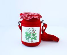 Strawberry Jam Jar Bag Small Red Felt Bag by krukrustudio on Etsy
