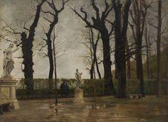 Marco Calderini (Torino, 1850-1941) Giardini di Palazzo Reale a Torino 1890-1910 ca. olio su tela, 70.5 x 90 cm. Fondazione Ottavio Mazzonis
