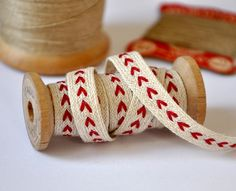 Heart Linen Trim - on a Wooden Spool - Picture Colors:  Red, Cream, Tan, Brown, Gray