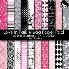 Free Printable 2 Digital Paper 12x12 love in paris ( free sample)