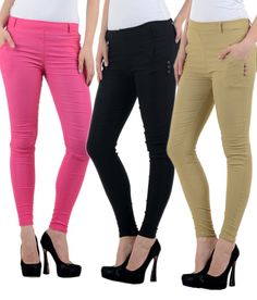 Buy New Fashion Multi Color Cotton Lycra Jeggings