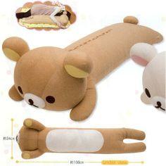 "Black Friday Original San-x Bear 42.5"" Long Rilakkuma Shape Pillow from Sanrio"