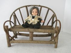 Miniature Love Seat Vintage Bent Wood Sofa Doll by HobbitHouse
