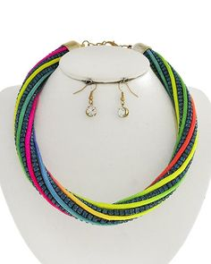 Two-tone / Blue Rhinestone & Neon Multi Color Rope / Lead Compliant / Necklace & Fish Hook Earring Set