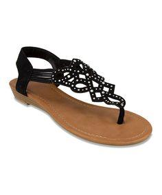 Another great find on #zulily! Black Rhinestone Sandal #zulilyfinds