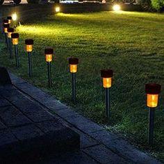 10x Solar Light for Path Garden Outdoor Landscape Yard Warm White LED Lamp. Black
