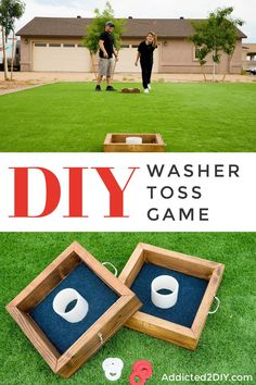 A washer toss game is a fun way to spend time with family and friends for some friendly competition.  This DIY washer toss game is a quick and easy project you can build in just a few hours. #backyardgames #washertoss #diygames #familygames
