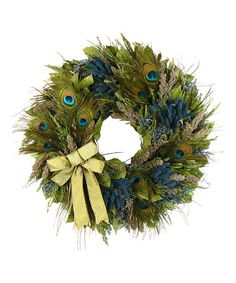 Take a look at this 22'' Holiday Peacock Wreath by Floral Treasure on #zulily today!