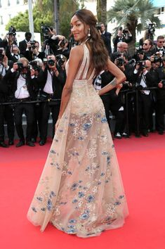 Jourdan Dunn in ELIE SAAB attends 'The Killing Of A Sacred Deer' premiere during the 70th annual Cannes Film Festival at Palais des Festivals on May 22 2017 in...