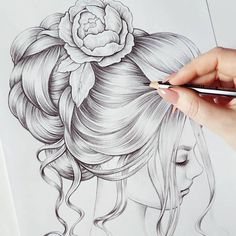New Hair Inspirations soon! Girl Drawing Sketches, Girly Drawings, Art Drawings Sketches Simple, Realistic Drawings, Beautiful Drawings, Cool Drawings, Drawing Art, Drawing Faces, Drawing Tips