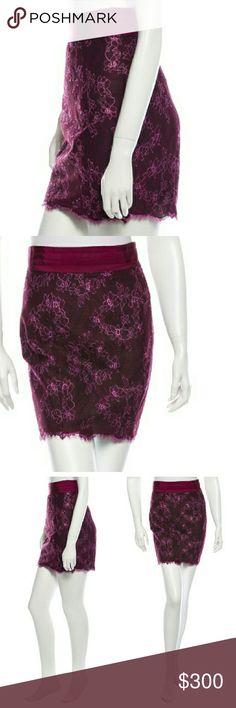 "L'Wren Scott Lace Raspberry Skirt NWTs. Size small. Zip back closure. IT size 40. 18"" long. Poly blend with silk blend lining. L'Wren Scott Skirts Mini"