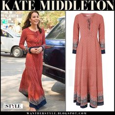 Kate Middleton in red printed lace up maxi dress