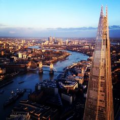London at sunset with The Shard, Tower Bridge and the Isle of Dogs! #london #england #britain #thames #river #shard #banks #city