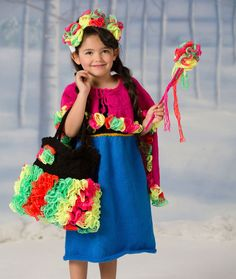 Flower Princess Dress & Cape Free Knitting Pattern from Red Heart Yarns