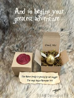 Harry Potter Invitation -Golden Snitch Egg - Birthday - Shower - Save The Date - Pregnancy Announcement - Crack Me