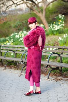 "1 63-Year-Old Lanvin Model, 4 Enviable Outfits #refinery29  http://www.refinery29.com/tziporah-salamon#slide-5  What is one thing you would never wear or have stopped wearing completely? ""Miniskirts.""1930's silk Cheongsam plum dress, vintage silk hat, vintage pink-pearl earrings, Emma Hope shoes, vintage ostrich-feather plum jacket."