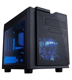 Apevia X-QPACK3-BL micro ATX cube gaming/HTPC case with 2 x blue tinted side windows Top 2 x USB2.0 / 1 x USB3.0 / HD audio and mic ports, 4 x expansion slo