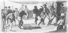 Illustration showing sailors on the deck of a ship, some holding whips, watching 3 scared looking Africans they went from africa to the west indies in the atlantic ocean (triangular trade)