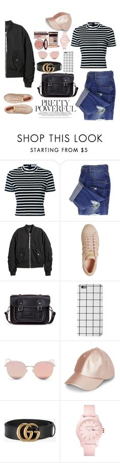 """""""pink it up"""" by alicia-sinno ❤ liked on Polyvore featuring T By Alexander Wang, H&M, adidas, Stephane + Christian, Gucci, Lacoste and Charlotte Tilbury"""