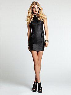 Sleeveless Faux-Leather Dress  $98.00