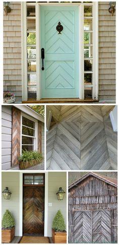 Herringbone-pattern doors and shutters compliments of HomeStoriesAtoZ.com