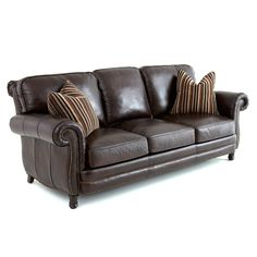Steve Silver Chateau Leather Sofa with 2 Accent Pillows - Antique Chocolate Brown Dark Brown Leather Sofa, Brown Leather Furniture, Leather Couches, Couch And Loveseat, Sofa Pillows, Accent Pillows, Steve Silver Furniture, Leather Reclining Sofa, Couch Design