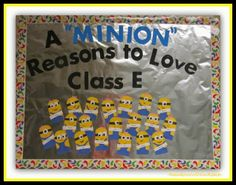 Thought of you when I saw these little minions! 200 Back to School Bulletin Boards and Decorated Classroom Doors! School Welcome Bulletin Boards, Preschool Bulletin Boards, Welcome Back To School, Preschool Classroom, Kindergarten, Autism Classroom, Minion Classroom, Classroom Door, Classroom Themes