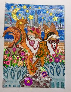 From Fanciful Foxes by Marjorie Sarnat Fox Coloring Page, Coloring Books, Coloring Pages, Fabulous Fox, Foxes, Art Nouveau, Dog Cat, Owl, It Is Finished