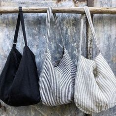 Linen Oversized Beach Bag Black and White Stripe Oversized Beach Bags, Linen Bag, Fabric Bags, Black Linen, Market Bag, Cotton Bag, Black Stripes, Bag Making, Fashion Bags