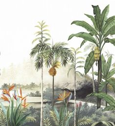 Mural Art, Wall Murals, Wall Art, Forest Illustration, Botanical Illustration, Collage Architecture, Wall Paint Inspiration, Bali Painting, Jungle Life