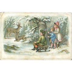 Children in Snowy Woods Watch Deer, Victorian Card