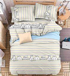 Cat Design 4pcs Bedding Set Duvet Cover Flat Sheet Pillow Case Twin ...  Https