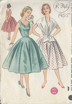 Modello di cucito dell'annata 1955 B33 ABITO e STOLA